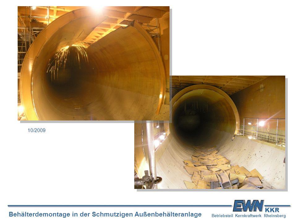 Betriebsteil Kernkraftwerk Rheinsberg Behälterdemontage in der Schmutzigen Außenbehälteranlage KKR 10/2009