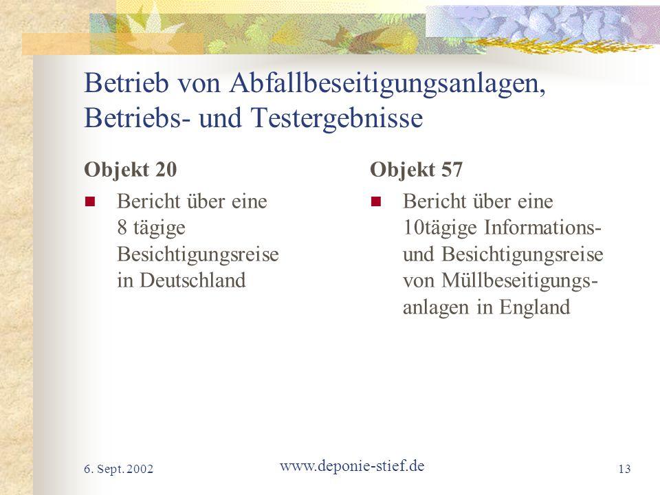 6. Sept. 2002 www.deponie-stief.de 13 Betrieb von Abfallbeseitigungsanlagen, Betriebs- und Testergebnisse Objekt 20 Bericht über eine 8 tägige Besicht