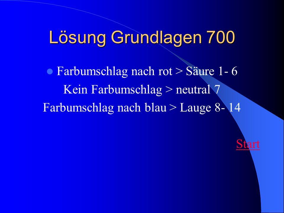Lösung Grundlagen 700 Farbumschlag nach rot > Säure 1- 6 Kein Farbumschlag > neutral 7 Farbumschlag nach blau > Lauge 8- 14 Start