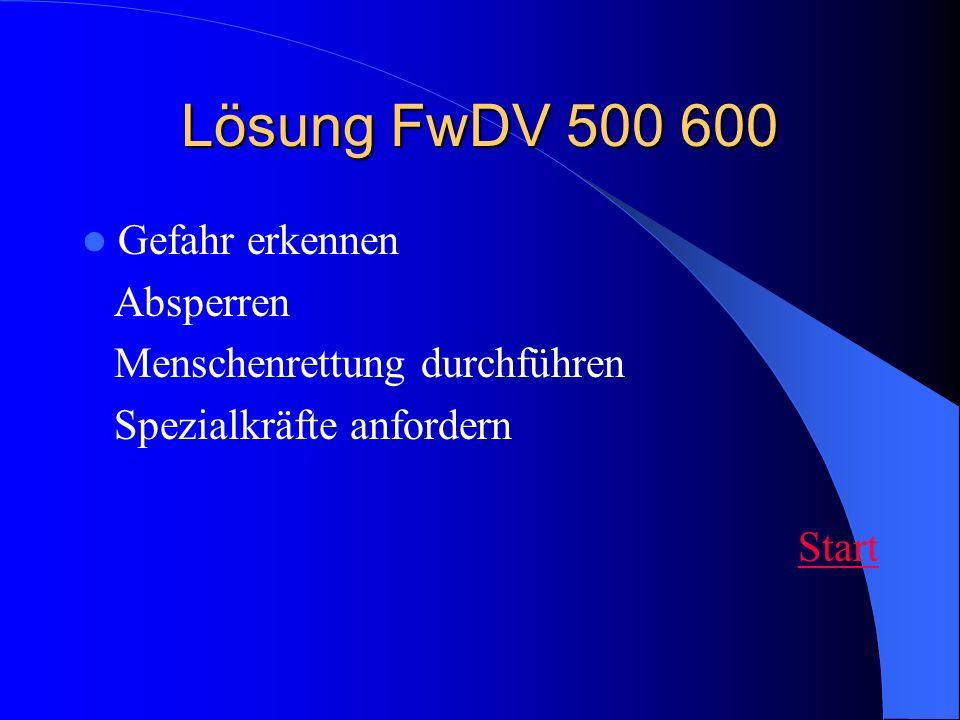 Lösung FwDV 500 600 Gefahr erkennen Absperren Menschenrettung durchführen Spezialkräfte anfordern Start