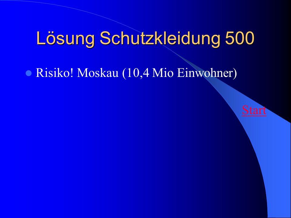 Lösung Schutzkleidung 500 Risiko! Moskau (10,4 Mio Einwohner) Start