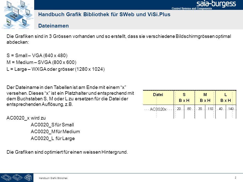 53 Handbuch Grafik Bibliothek BezeichnungGrafikDateiS B x H M B x H L B x H ReglerGE1401_x - GE1404_x 203025353045 SollwertGE1410_x 15 20 25 IstwertGE1411_x 15 20 25 AlarmGE1420_x 20 25 30 Handbuch Grafik Bibliothek für SWeb und ViSi.Plus Allgemein