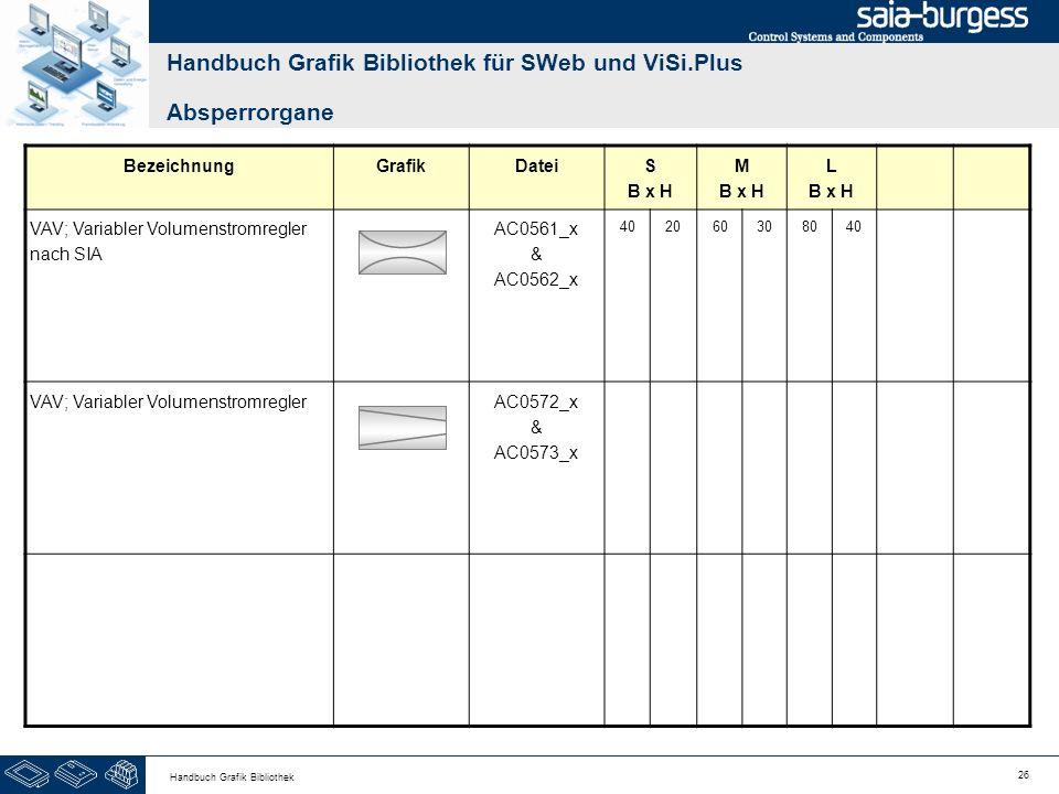 26 Handbuch Grafik Bibliothek Handbuch Grafik Bibliothek für SWeb und ViSi.Plus Absperrorgane BezeichnungGrafikDateiS B x H M B x H L B x H VAV; Varia