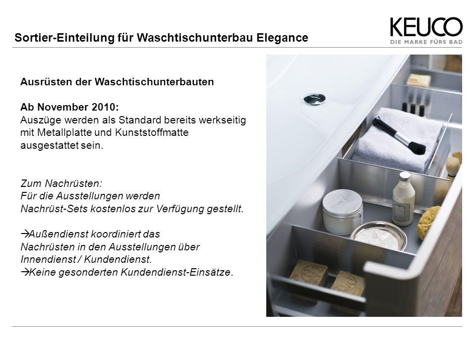 Ausrüsten der Waschtischunterbauten Ab November 2010: Auszüge werden als Standard bereits werkseitig mit Metallplatte und Kunststoffmatte ausgestattet