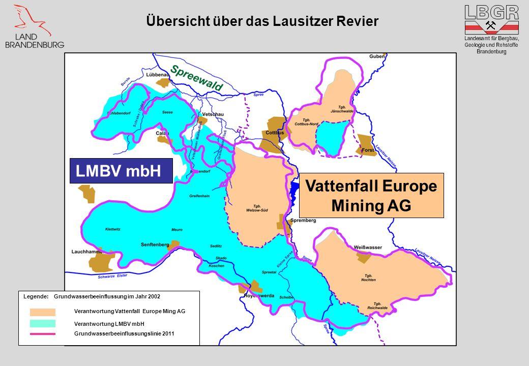 Übersicht über das Lausitzer Revier Vattenfall Europe Mining AG LMBV mbH Legende: Grundwasserbeeinflussung im Jahr 2002 Verantwortung Vattenfall Europ