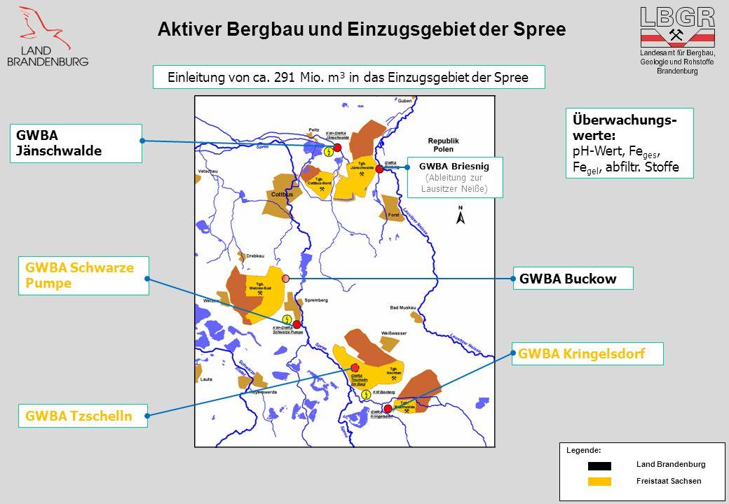 Aktiver Bergbau und Einzugsgebiet der Spree GWBA Briesnig (Ableitung zur Lausitzer Neiße) GWBA Buckow GWBA Tzschelln GWBA Kringelsdorf GWBA Jänschwald