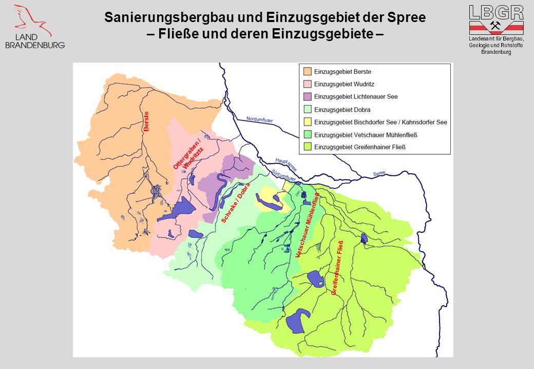 Sanierungsbergbau und Einzugsgebiet der Spree – Fließe und deren Einzugsgebiete – Berste Ottergraben / Wudritztz Vetschauer Mühlenfließ Greifenhainer