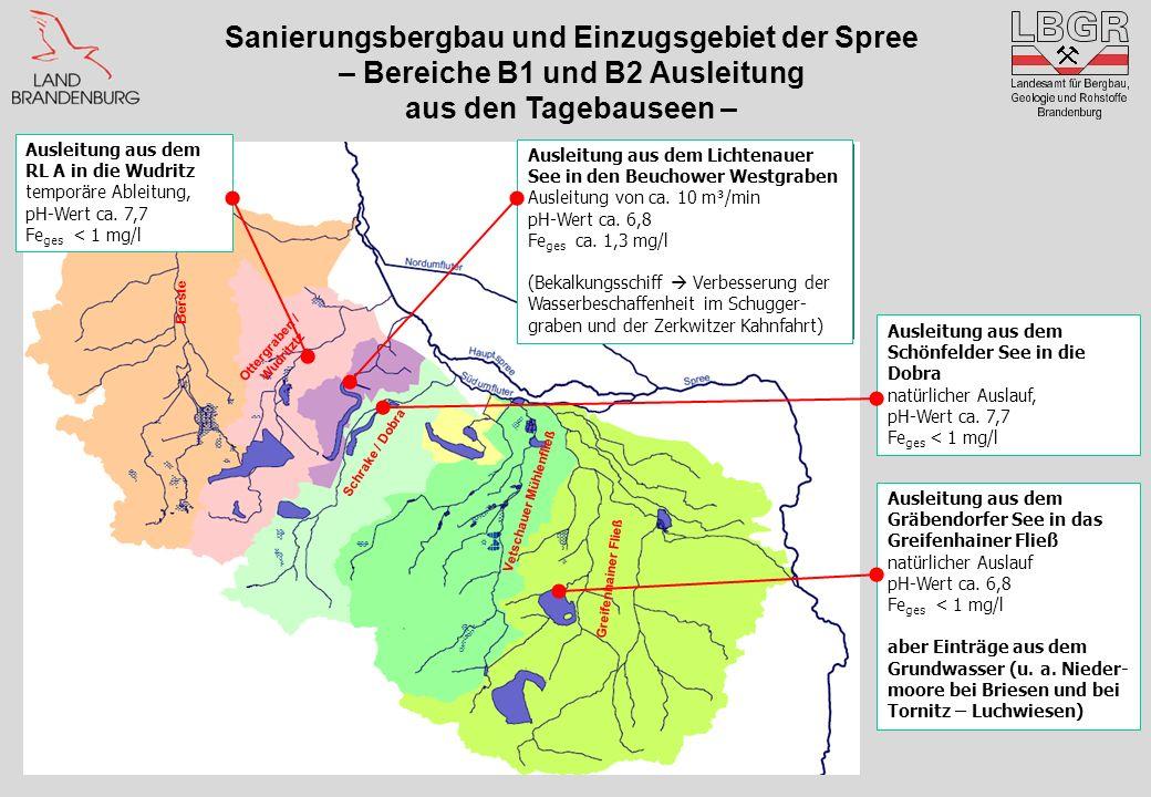 Berste Ottergraben / Wudritztz Vetschauer Mühlenfließ Greifenhainer Fließ Schrake / Dobra Ausleitung aus dem Lichtenauer See in den Beuchower Westgrab
