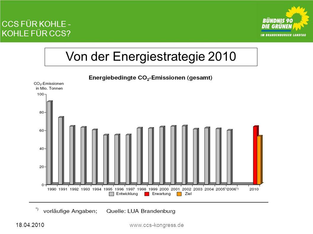 CCS FÜR KOHLE - KOHLE FÜR CCS? 18.04.2010www.ccs-kongress.de Von der Energiestrategie 2010