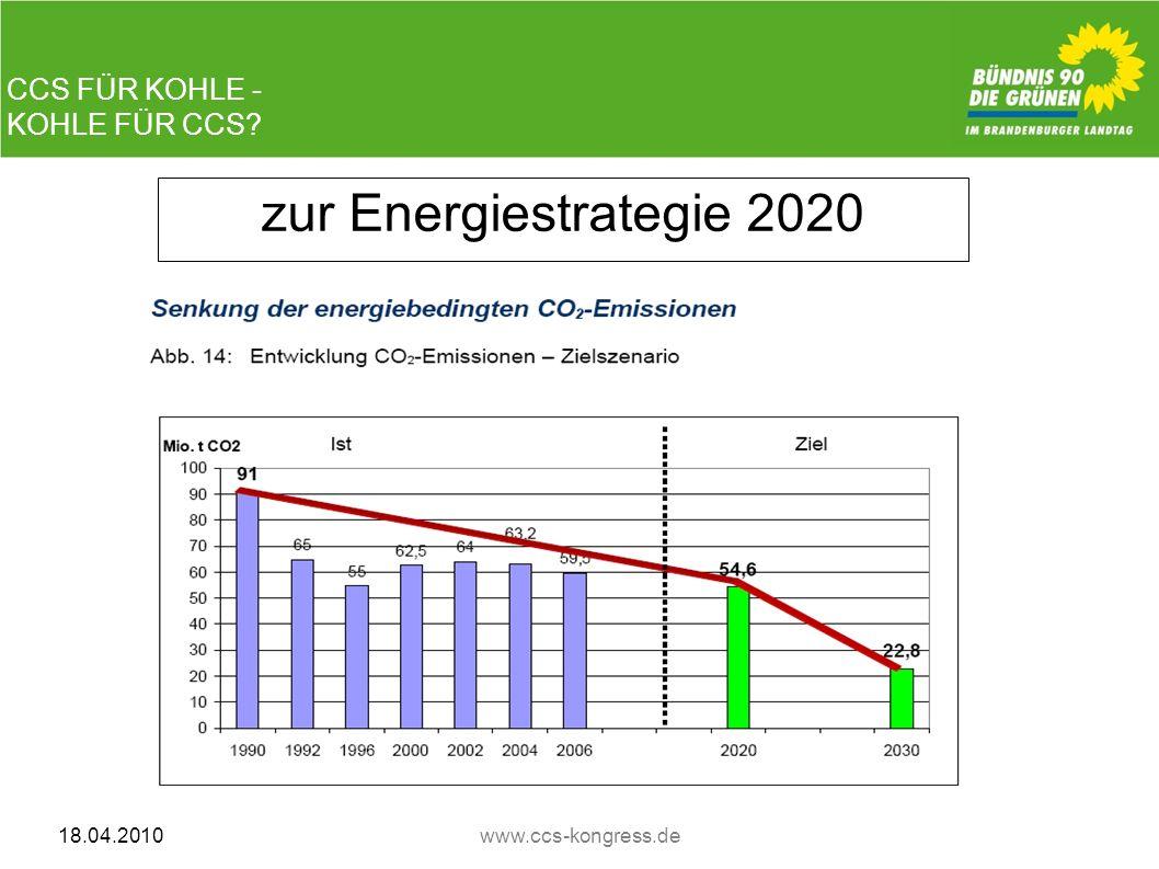 CCS FÜR KOHLE - KOHLE FÜR CCS? 18.04.2010www.ccs-kongress.de zur Energiestrategie 2020