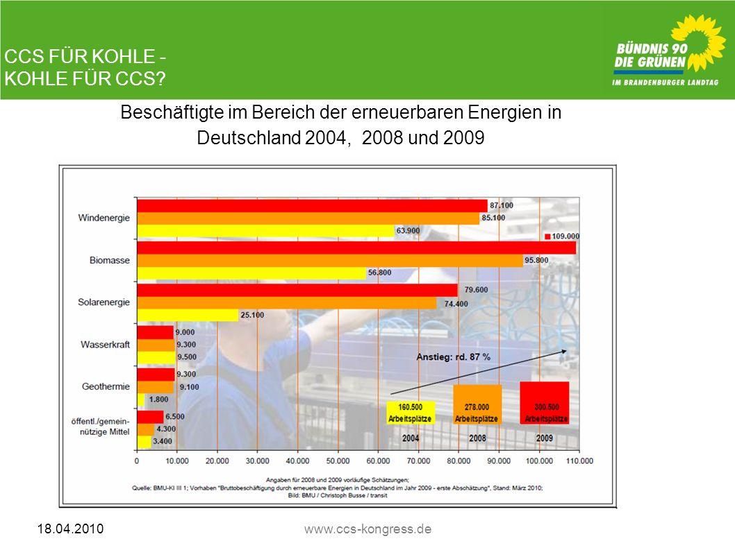 CCS FÜR KOHLE - KOHLE FÜR CCS? 18.04.2010www.ccs-kongress.de CCS FÜR KOHLE - KOHLE FÜR CCS? Beschäftigte im Bereich der erneuerbaren Energien in Deuts