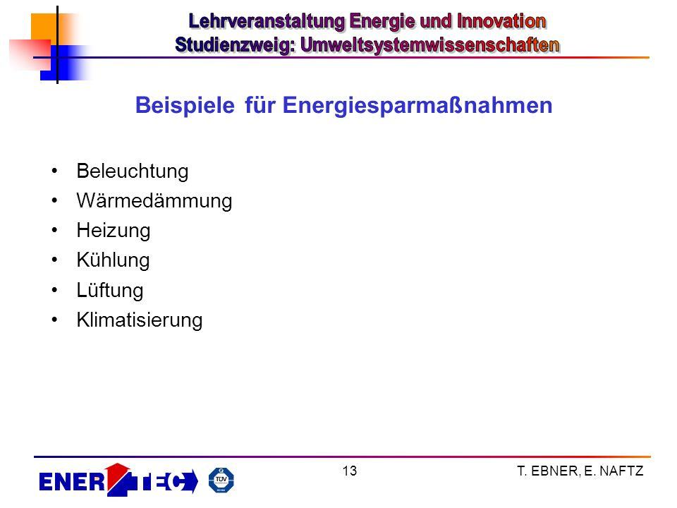 T. EBNER, E. NAFTZ13 Beispiele für Energiesparmaßnahmen Beleuchtung Wärmedämmung Heizung Kühlung Lüftung Klimatisierung