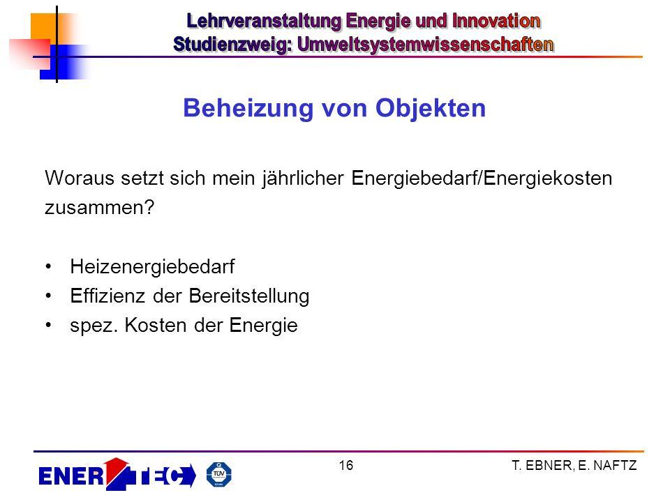 T. EBNER, E. NAFTZ16 Beheizung von Objekten Woraus setzt sich mein jährlicher Energiebedarf/Energiekosten zusammen? Heizenergiebedarf Effizienz der Be