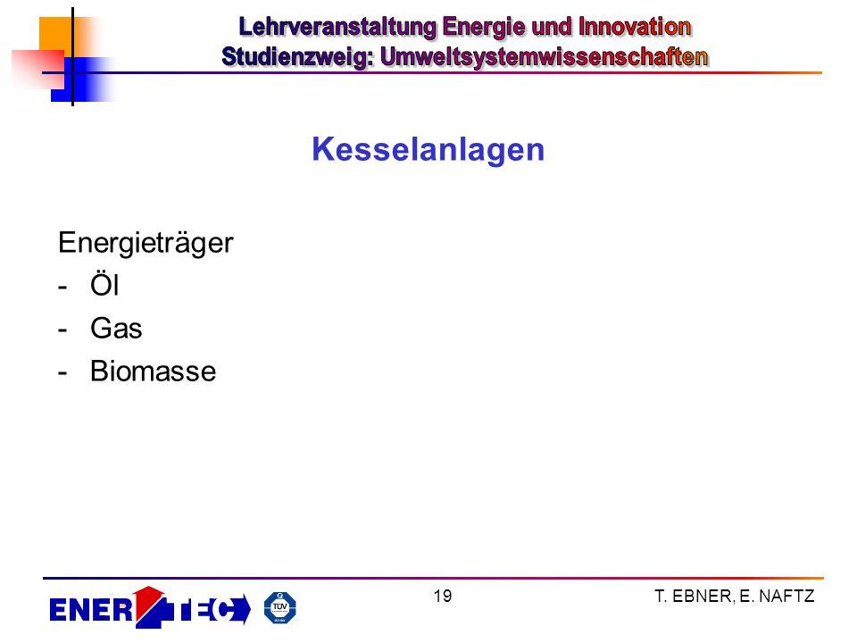 T. EBNER, E. NAFTZ19 Kesselanlagen Energieträger -Öl -Gas -Biomasse