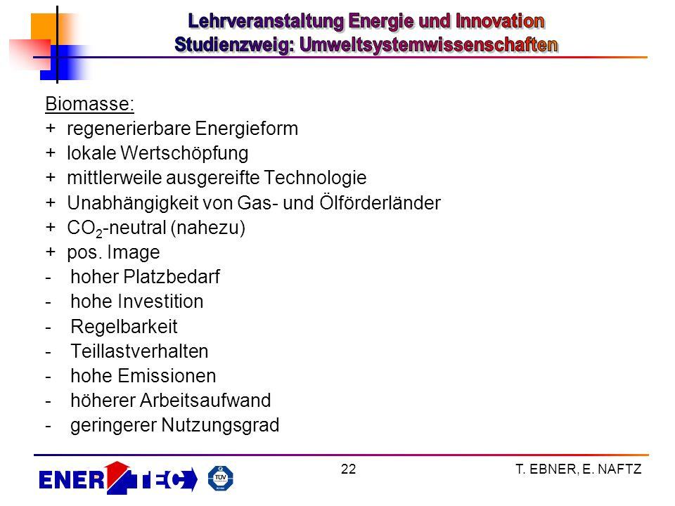 T. EBNER, E. NAFTZ22 Biomasse: + regenerierbare Energieform + lokale Wertschöpfung + mittlerweile ausgereifte Technologie + Unabhängigkeit von Gas- un