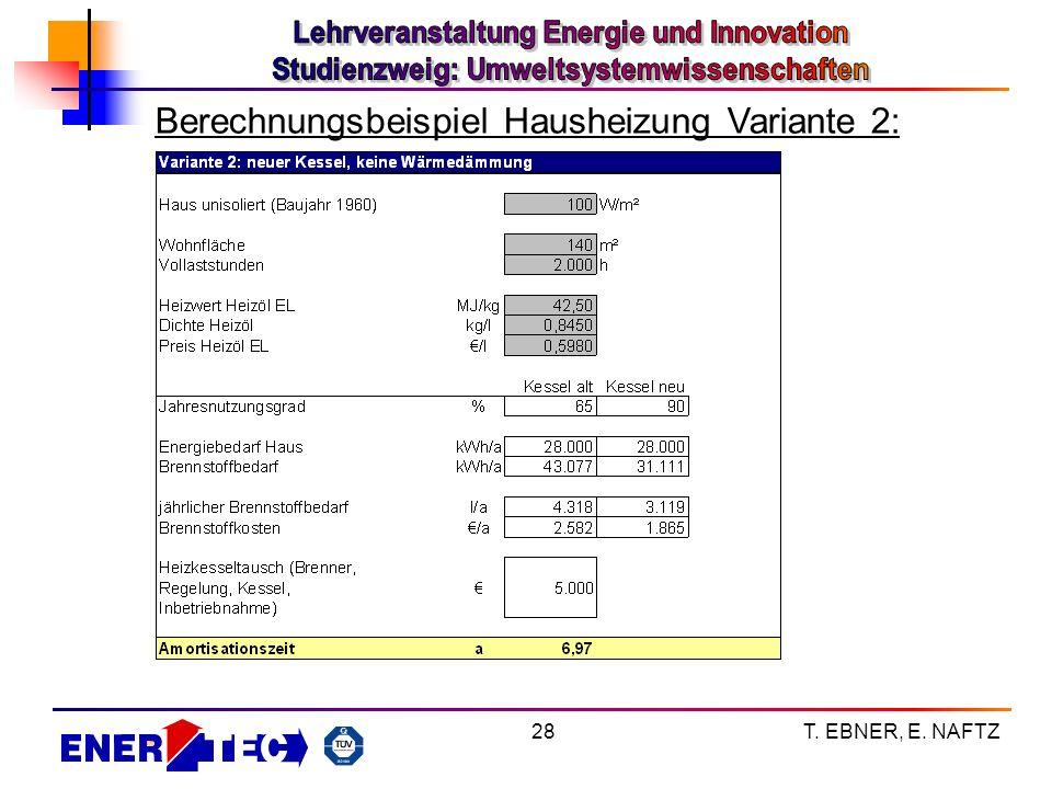 T. EBNER, E. NAFTZ28 Berechnungsbeispiel Hausheizung Variante 2: