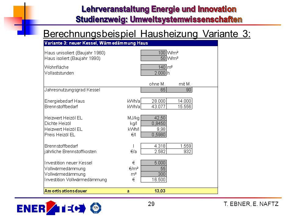 T. EBNER, E. NAFTZ29 Berechnungsbeispiel Hausheizung Variante 3: