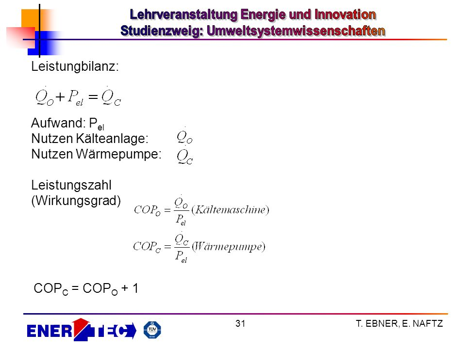T. EBNER, E. NAFTZ31 Leistungbilanz: Aufwand: P el Nutzen Kälteanlage: Nutzen Wärmepumpe: Leistungszahl (Wirkungsgrad) COP C = COP O + 1