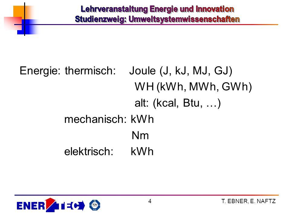 T. EBNER, E. NAFTZ4 Energie: thermisch: Joule (J, kJ, MJ, GJ) WH (kWh, MWh, GWh) alt: (kcal, Btu, …) mechanisch: kWh Nm elektrisch: kWh