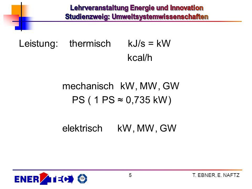 T. EBNER, E. NAFTZ5 Leistung:thermisch kJ/s = kW kcal/h mechanisch kW, MW, GW PS ( 1 PS 0,735 kW) elektrisch kW, MW, GW