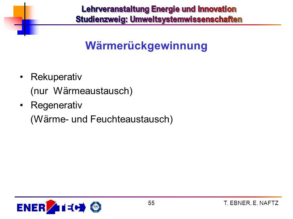 T. EBNER, E. NAFTZ55 Wärmerückgewinnung Rekuperativ (nur Wärmeaustausch) Regenerativ (Wärme- und Feuchteaustausch)