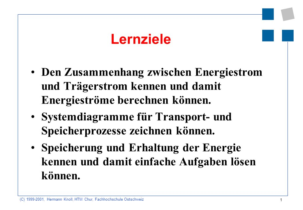 1 (C) 1999-2001, Hermann Knoll, HTW Chur, Fachhochschule Ostschweiz Lernziele Den Zusammenhang zwischen Energiestrom und Trägerstrom kennen und damit