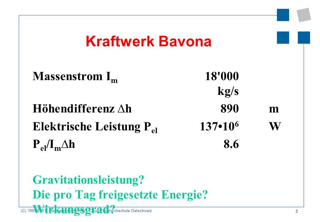5 (C) 1999-2001, Hermann Knoll, HTW Chur, Fachhochschule Ostschweiz Kraftwerk Bavona Massenstrom I m 18'000 kg/s Höhendifferenz h890 m Elektrische Lei