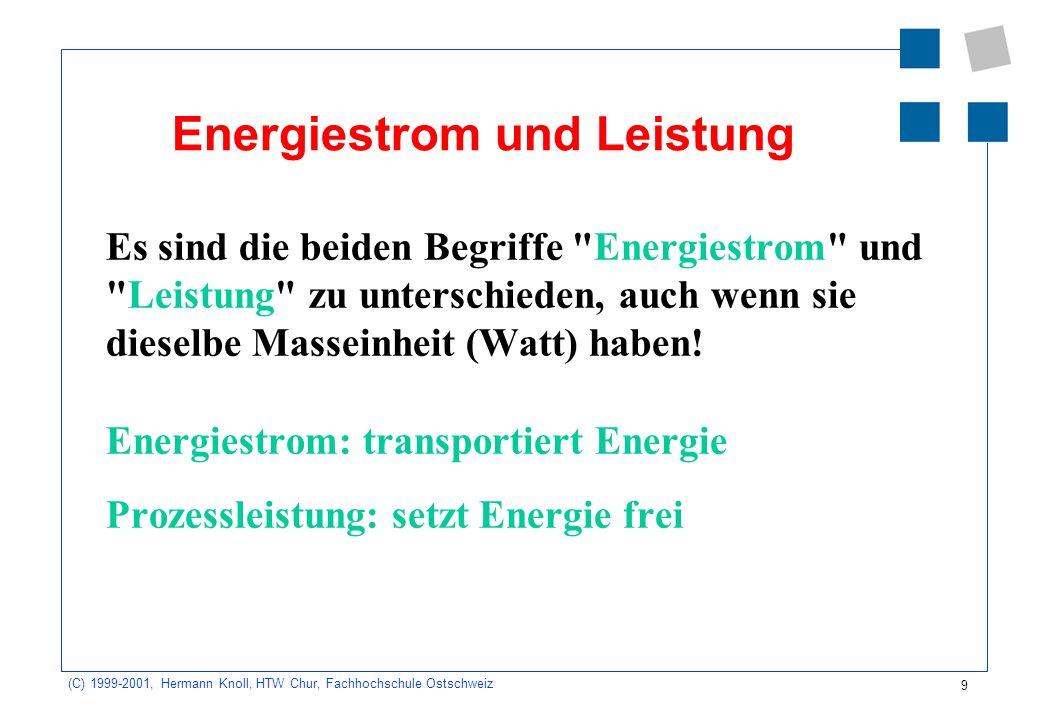 9 (C) 1999-2001, Hermann Knoll, HTW Chur, Fachhochschule Ostschweiz Energiestrom und Leistung Es sind die beiden Begriffe