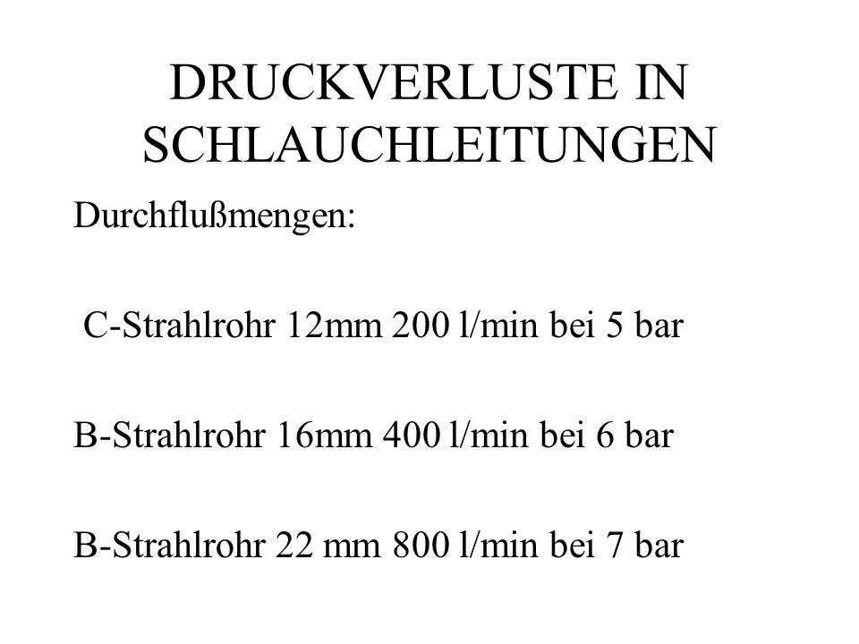 DRUCKVERLUSTE IN SCHLAUCHLEITUNGEN Durchflußmengen: C-Strahlrohr 12mm 200 l/min bei 5 bar B-Strahlrohr 16mm 400 l/min bei 6 bar B-Strahlrohr 22 mm 800 l/min bei 7 bar