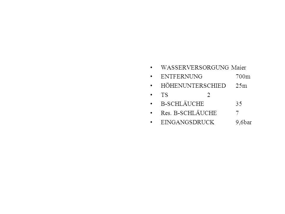 WASSERVERSORGUNG Maier ENTFERNUNG700m HÖHENUNTERSCHIED25m TS2 B-SCHLÄUCHE35 Res.