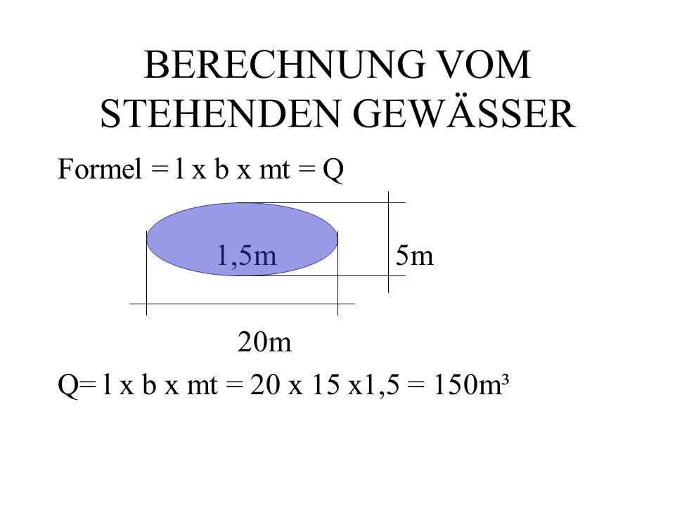 BERECHNUNG VOM STEHENDEN GEWÄSSER Formel = l x b x mt = Q 1,5m5m 20m Q= l x b x mt = 20 x 15 x1,5 = 150m³