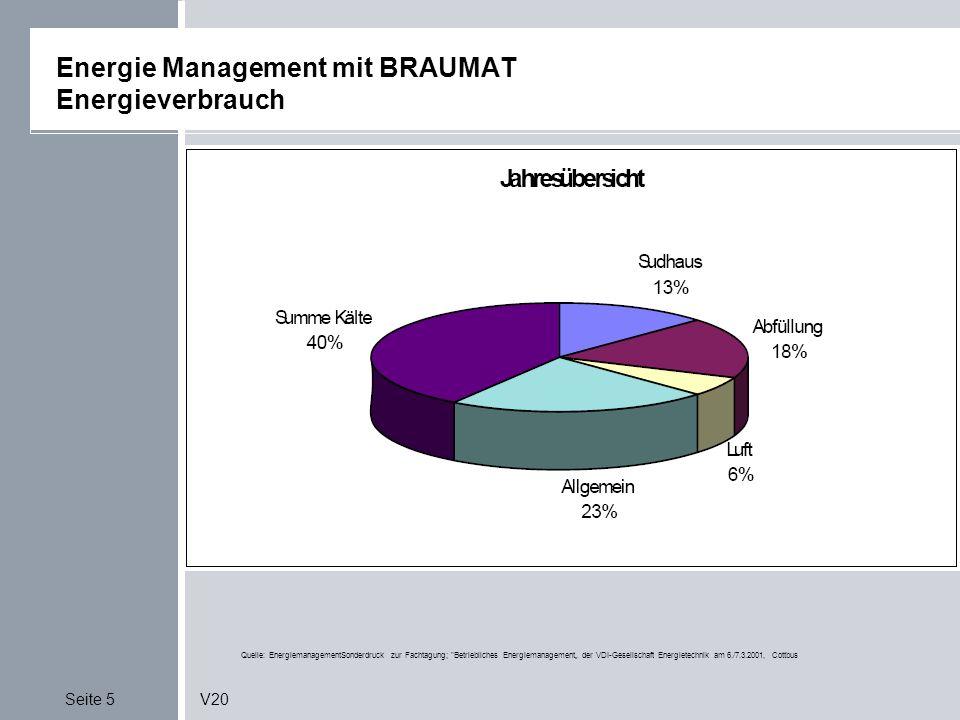 Seite 5V20 Energie Management mit BRAUMAT Energieverbrauch Quelle: EnergiemanagementSonderdruck zur Fachtagung; Betriebliches Energiemanagement der VDI-Gesellschaft Energietechnik am 6./7.3.2001, Cottbus