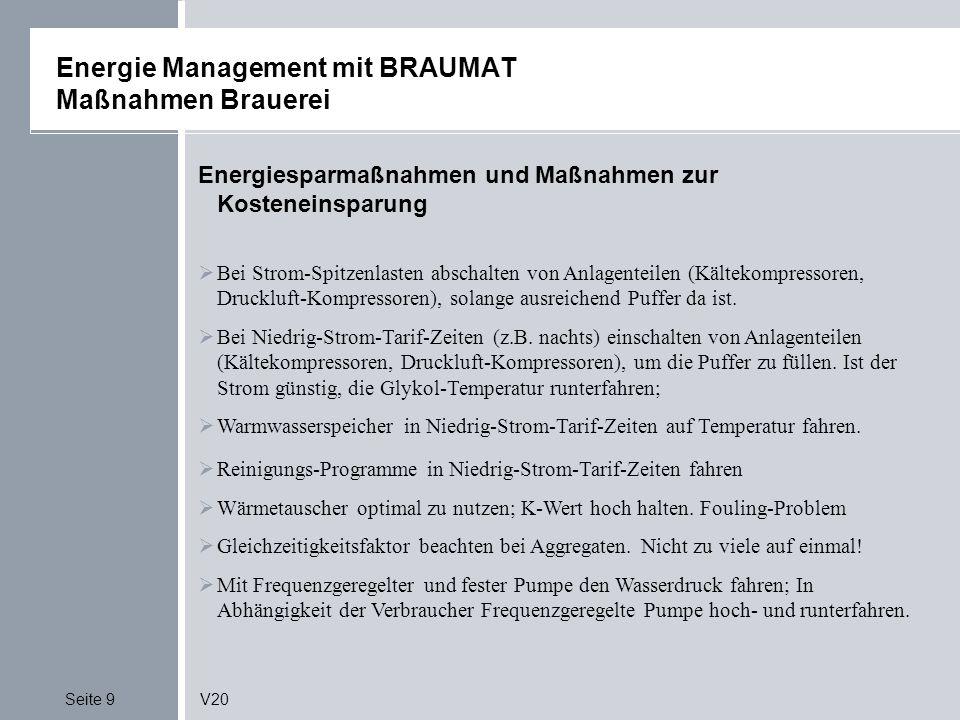 Seite 9V20 Energie Management mit BRAUMAT Maßnahmen Brauerei Energiesparmaßnahmen und Maßnahmen zur Kosteneinsparung Bei Strom-Spitzenlasten abschalten von Anlagenteilen (Kältekompressoren, Druckluft-Kompressoren), solange ausreichend Puffer da ist.