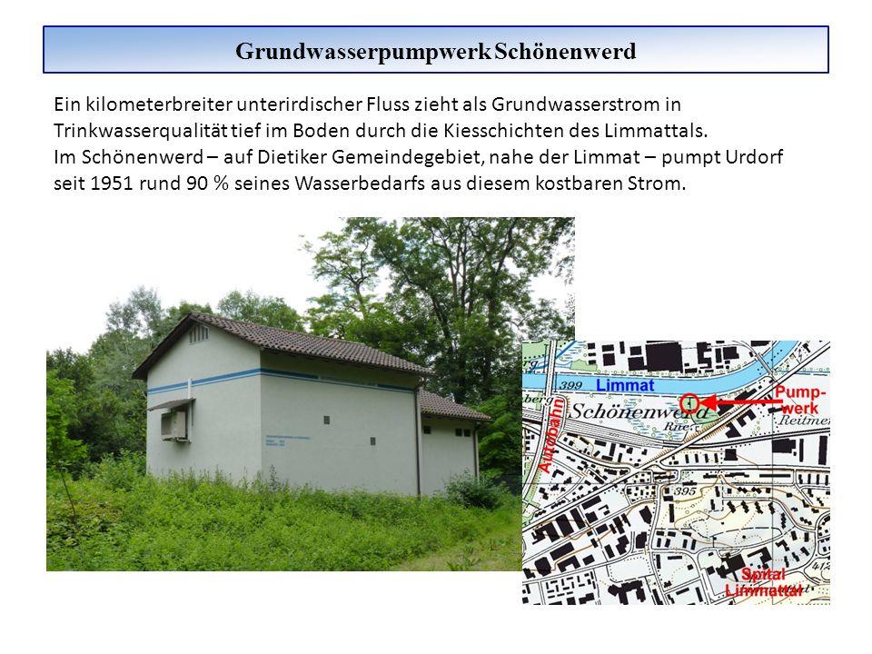 Grundwasserpumpwerk Schönenwerd Ein kilometerbreiter unterirdischer Fluss zieht als Grundwasserstrom in Trinkwasserqualität tief im Boden durch die Ki