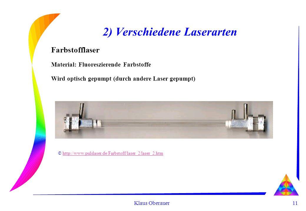11 Klaus Oberauer 2) Verschiedene Laserarten Farbstofflaser Material: Fluoreszierende Farbstoffe Wird optisch gepumpt (durch andere Laser gepumpt) © http://www.pulslaser.de/Farbstoff/laser_2/laser_2.htmhttp://www.pulslaser.de/Farbstoff/laser_2/laser_2.htm