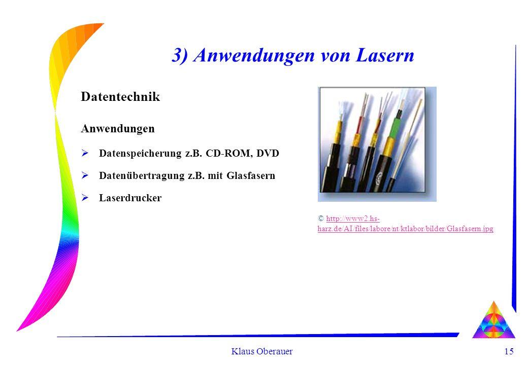 15 Klaus Oberauer 3) Anwendungen von Lasern Datentechnik Anwendungen Datenspeicherung z.B. CD-ROM, DVD Datenübertragung z.B. mit Glasfasern Laserdruck