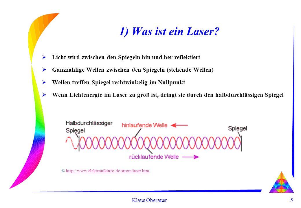 5 Klaus Oberauer 1) Was ist ein Laser? Licht wird zwischen den Spiegeln hin und her reflektiert Ganzzahlige Wellen zwischen den Spiegeln (stehende Wel