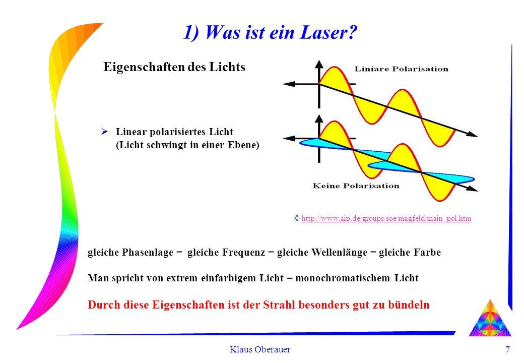 7 Klaus Oberauer 1) Was ist ein Laser? Eigenschaften des Lichts Linear polarisiertes Licht (Licht schwingt in einer Ebene) gleiche Phasenlage = gleich