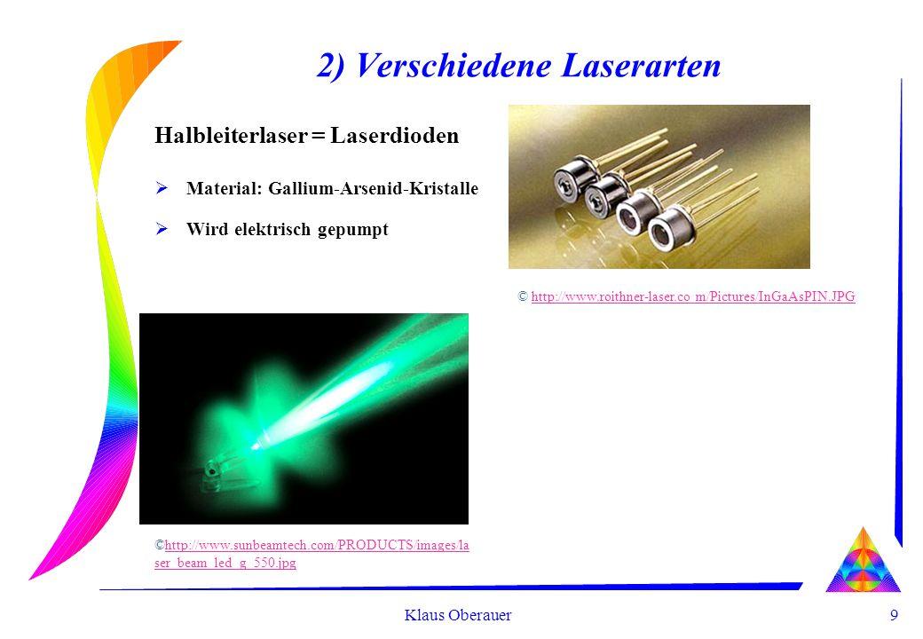 9 Klaus Oberauer 2) Verschiedene Laserarten Halbleiterlaser = Laserdioden Material: Gallium-Arsenid-Kristalle Wird elektrisch gepumpt © http://www.roithner-laser.co m/Pictures/InGaAsPIN.JPGhttp://www.roithner-laser.co m/Pictures/InGaAsPIN.JPG ©http://www.sunbeamtech.com/PRODUCTS/images/la ser_beam_led_g_550.jpghttp://www.sunbeamtech.com/PRODUCTS/images/la ser_beam_led_g_550.jpg