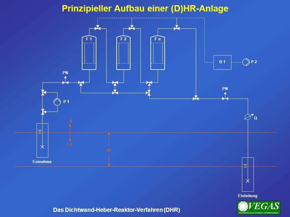 Prinzipieller Aufbau einer (D)HR-Anlage Das Dichtwand-Heber-Reaktor-Verfahren (DHR) Einleitung F 2F 1F n h - p + p Entnahme P 1 PN P 2B 1 Q