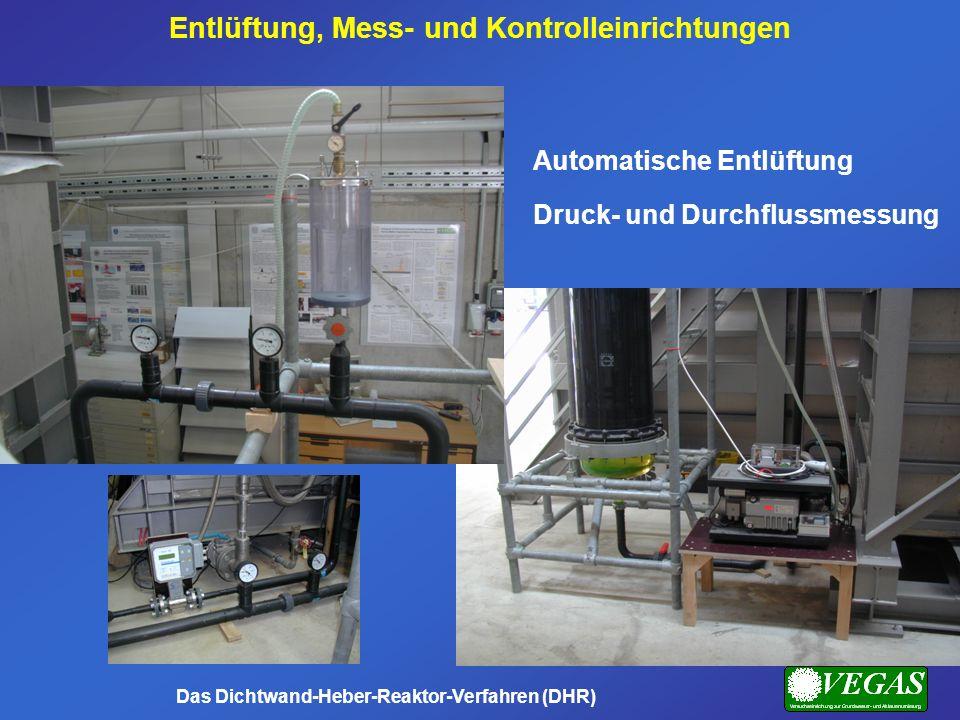 Automatische Entlüftung Druck- und Durchflussmessung Entlüftung, Mess- und Kontrolleinrichtungen Das Dichtwand-Heber-Reaktor-Verfahren (DHR)
