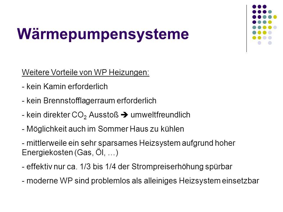 Wärmepumpensysteme Weitere Vorteile von WP Heizungen: - kein Kamin erforderlich - kein Brennstofflagerraum erforderlich - kein direkter CO 2 Ausstoß u