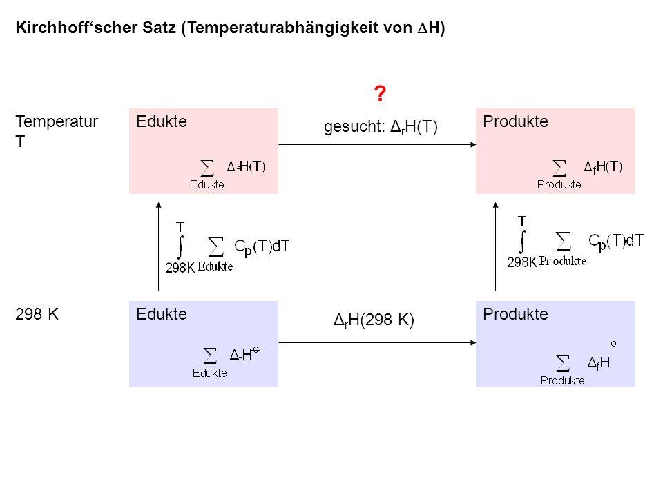 Kirchhoffscher Satz (Temperaturabhängigkeit von H) .