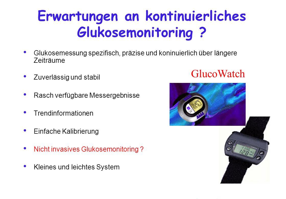 Erwartungen an kontinuierliches Glukosemonitoring ? Glukosemessung spezifisch, präzise und koninuierlich über längere Zeiträume Zuverlässig und stabil