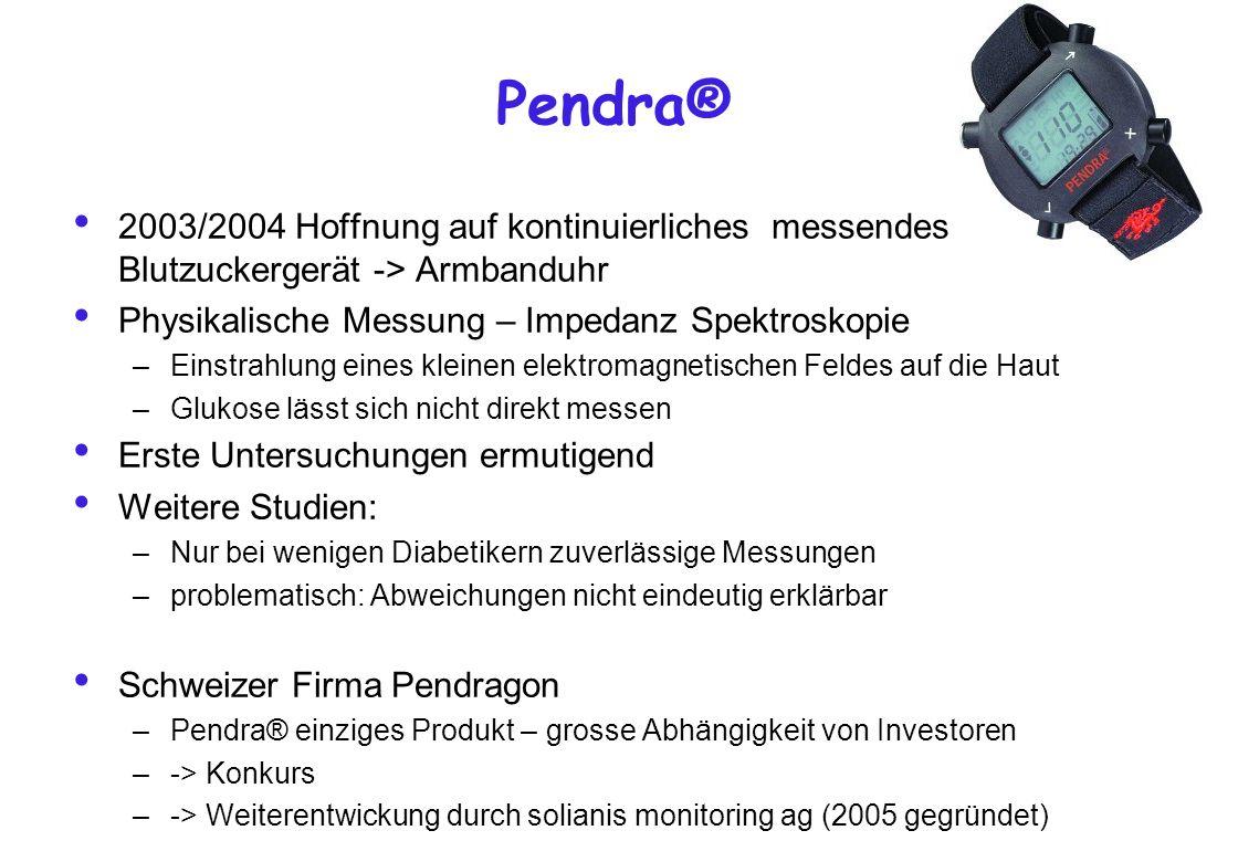 Pendra® 2003/2004 Hoffnung auf kontinuierliches messendes Blutzuckergerät -> Armbanduhr Physikalische Messung – Impedanz Spektroskopie –Einstrahlung e