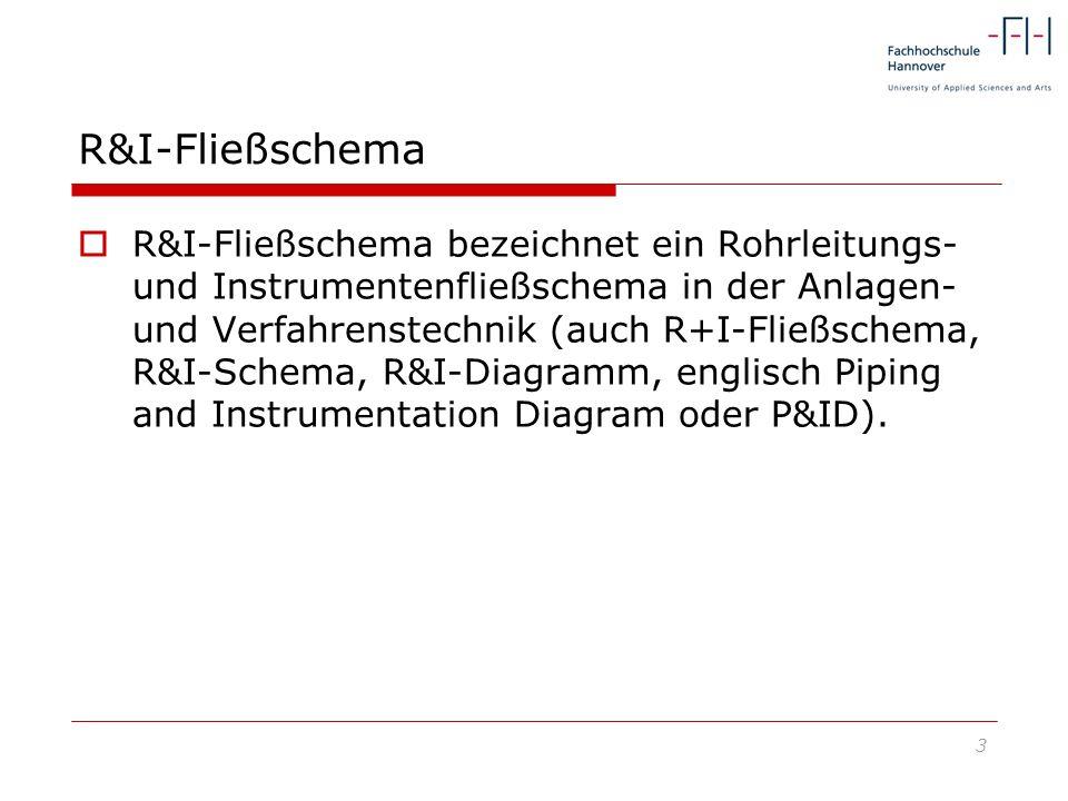 3 R&I-Fließschema R&I-Fließschema bezeichnet ein Rohrleitungs- und Instrumentenfließschema in der Anlagen- und Verfahrenstechnik (auch R+I-Fließschema