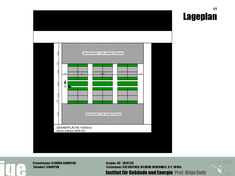 Projektname: WOHNEN SINGAPUR Standort: SINGAPUR Gruppe: 8D - SAUTTER Teilnehmer: ARI GRIFFNER, VILDANA SABANOVIC, H-P. GANGL 1/1 Lageplan