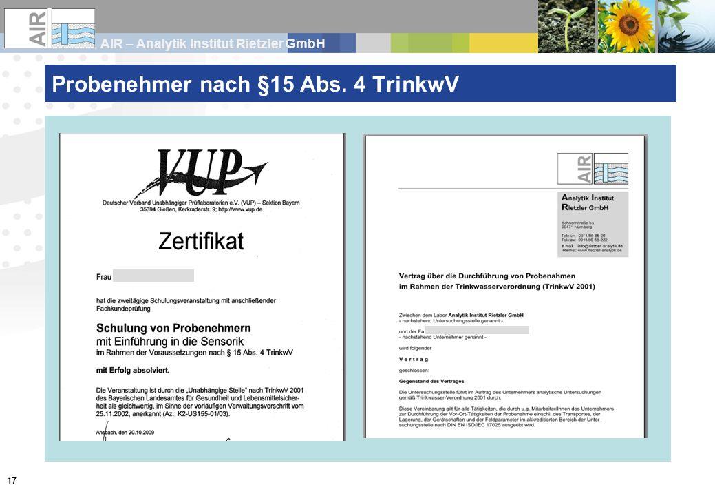 AIR – Analytik Institut Rietzler GmbH 17 Probenehmer nach §15 Abs. 4 TrinkwV