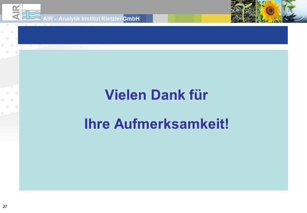 AIR – Analytik Institut Rietzler GmbH 27 Vielen Dank für Ihre Aufmerksamkeit!