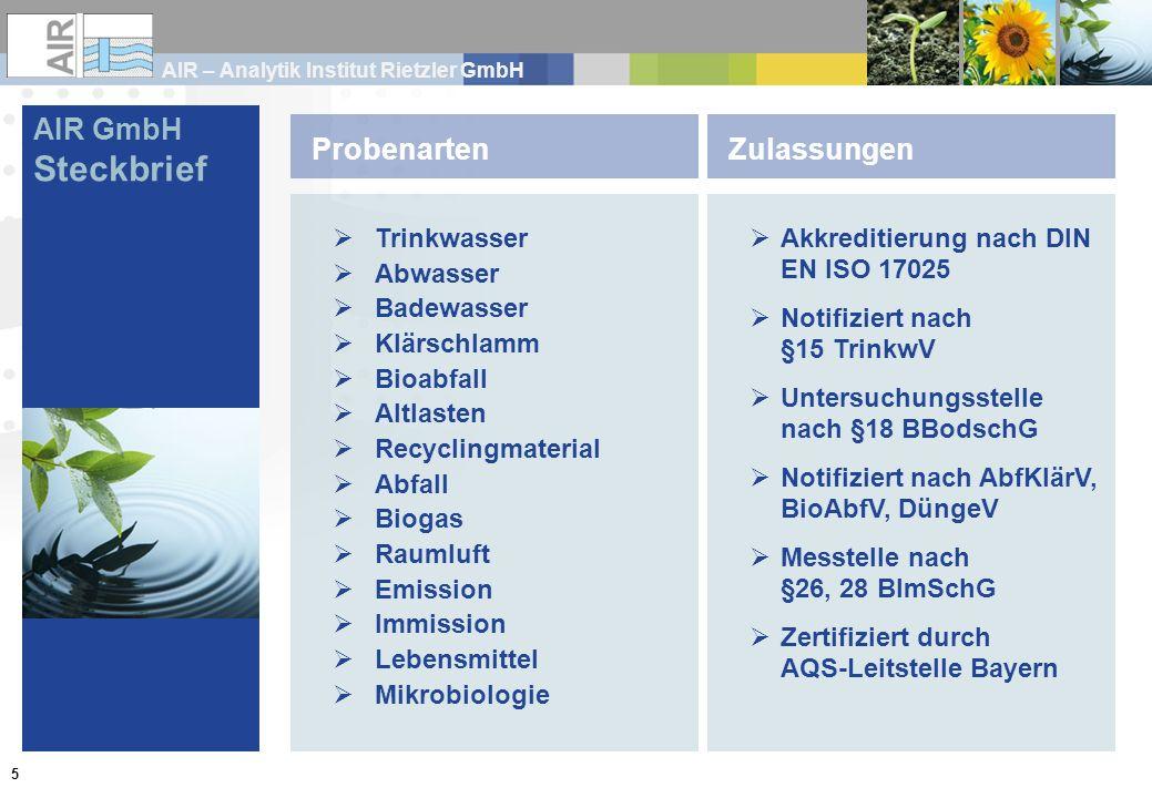 AIR – Analytik Institut Rietzler GmbH 5 Trinkwasser Abwasser Badewasser Klärschlamm Bioabfall Altlasten Recyclingmaterial Abfall Biogas Raumluft Emiss
